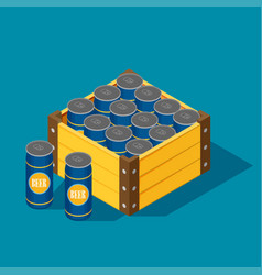 Color isometric icon with case of beer vector