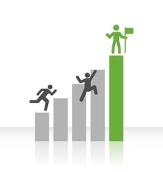 Flat Bar Chart with Climbing Men vector image vector image