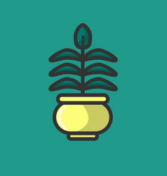 green plant growing in pot isolated on white logo vector image vector image