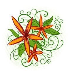 orange flowers with green leaves vector image vector image