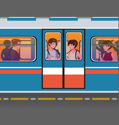 people go to the subway vector image vector image