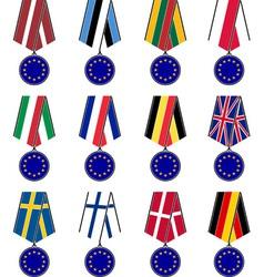 Set of european medals vector