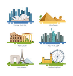 different city panoramas with famous landmarks vector image
