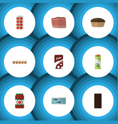 Flat food set of packet beverage beef tart and vector