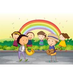 kids playing music vector image