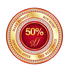 Label on 50 percent discount vector image vector image