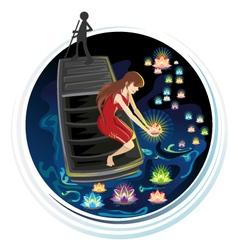 Spirit Festival Floating River Lanterns vector image vector image