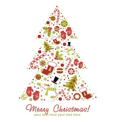 Stylized Christmas tree with xmas toys vector image vector image