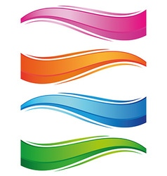 Waves of colorful banners set vector