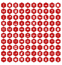 100 insects icons hexagon red vector