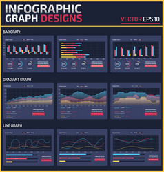 6 different infographic element graph design vector