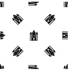 Ancient fort pattern seamless black vector
