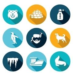 Antarctica icons set vector
