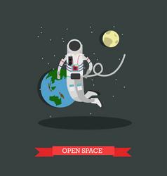 astronaut in open space vector image