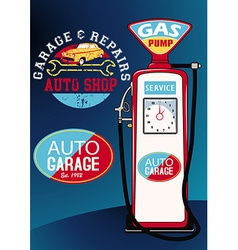 Auto repairs and gas pump vector