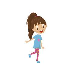 beautiful cartoon girl character in leggings and vector image