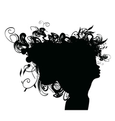 beauty girl silhouette with rose and leaf vector image