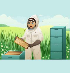 Beekeepers with honey comb vector