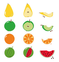 Bitten fruits sequence over white vector