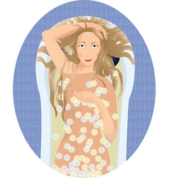 Blonde woman taking a bath with flowers vector