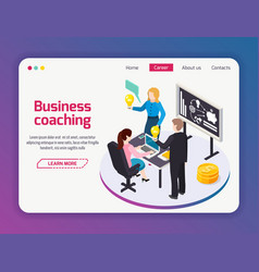 Business coaching web site page vector