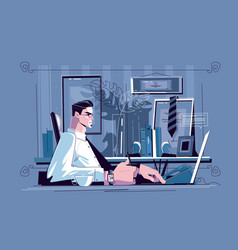 businessman sitting at workplace vector image