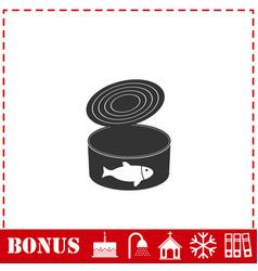 Canned tuna fish icon flat vector