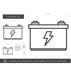 car battery line icon vector image
