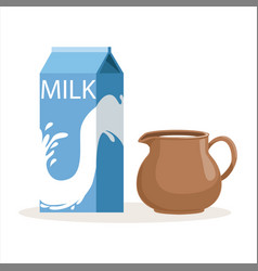 carton of milk and clay jug vector image
