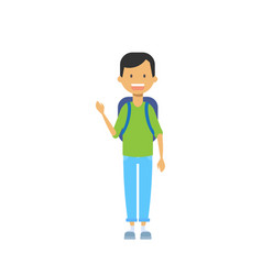 casual schoolboy with backpack and copybook happy vector image