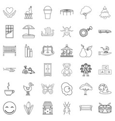 Childminder icons set outline style vector