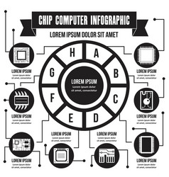 Chip computer infographic concept simple style vector