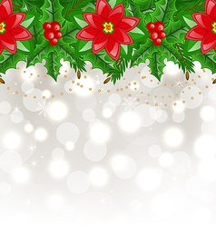 Christmas glowing background with holly berry and vector