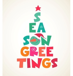 Christmas tree with season greetings cute cutout vector image