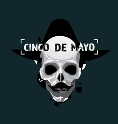 cinco de mayo invitation holiday flyer with skull vector image