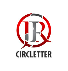 circle initial letter jr logo concept design vector image