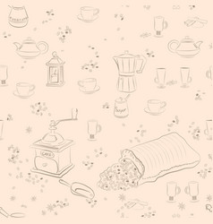 coffee sketch background vector image