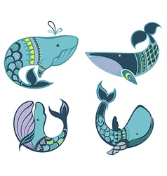 Collection of whale icons and vector image