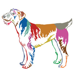 Colorful decorative standing portrait of airedale vector