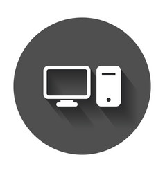 computer monitor flat icon with long shadow vector image