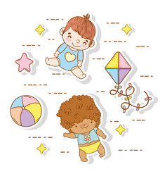 Cute babies with ball and kite toys vector