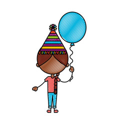 Cute girl with party balloon character icon vector