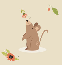 cute mouse scenting flower funny character design vector image