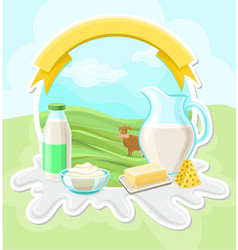 Dairy farm products rural landscape with cow vector