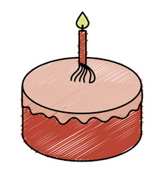Delicious cake celebration icon vector