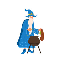 Elderly sorcerer brew potion with magic spell vector