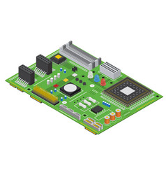 Electronic computer board isometric view vector