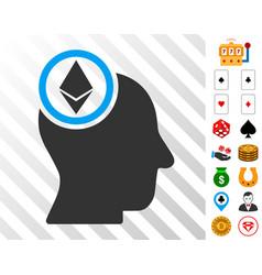 ethereum mind head icon with bonus vector image