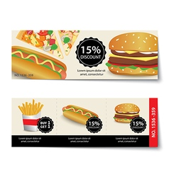 Fast food coupon discount template design vector