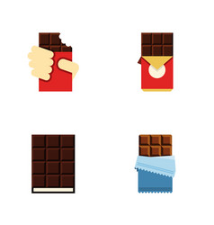 flat icon cacao set of shaped box dessert vector image